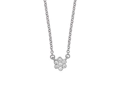 Collier Solitaire petite Fleur, diamants 0,04ct, 42-44-45 cm, Or gris 18k