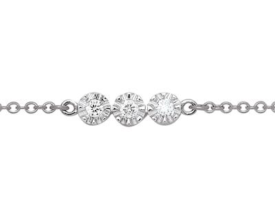 Bracelet 3 Pastilles serti illusion, diamants 0,03ct, 16-17-18 cm, Or gris 18k