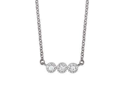 Collier 3 Pastilles serti illusion, diamants 0,03ct, 42-44-45 cm, Or gris 18k