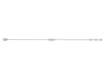 Bracelet 3 Pastilles serti illusion, diamants 0,10ct, 16-17-18 cm, Or gris 18k