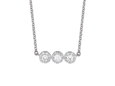 Collier 3 Pastilles serti illusion, diamants 0,10ct, 42-44-45 cm, Or gris 18k