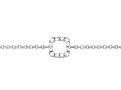 Bracelet motif Carré sur chaîne, diamants 0,05ct, 15-17-18 cm, Or gris 18k