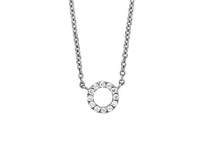 Collier motif Cercle sur chaîne, diamants 0,05ct, 4042 cm, Or gris 18k