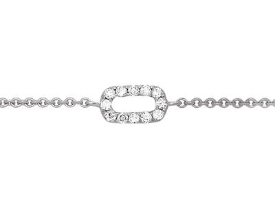 Bracelet motif Ovale sur chaîne, diamants 0,05ct, 15-17-18 cm, Or gris 18k