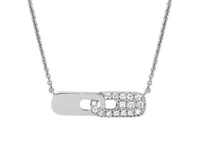Collier motif Lien sur chaîne, diamants 0,05ct, 4042 cm, Or gris 18k