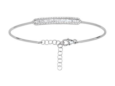 Bracelet Jonc, diamants ronds et baguettes 0,48ct, 58 x 48 mm, Or gris 18k