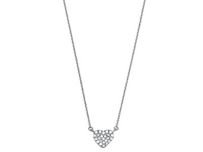 Collier Coeur pavé diamants 0,07ct, 40-42-44 cm, Or gris 18k