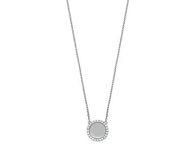 Collier Jeton serti diamants 0,19ct, 42 cm, Or gris 18k