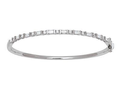 Bracelet Jonc diamants 1,31ct, 58 x 50 mm, Or gris 18k
