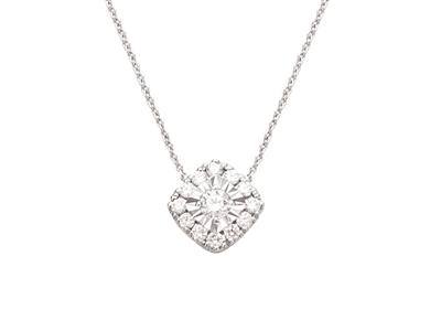 Collier motif Carré pastille, diamants 0,33ct, 42 cm, Or gris 18k