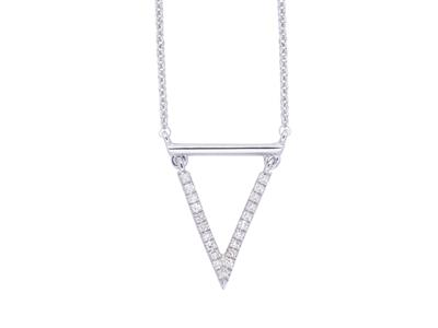 Collier motif Pointe, diamant 0,06ct, 38-40-42 cm, Or gris 18k