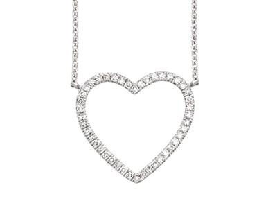 Collier Coeur, diamants 0,12ct, 38-40-42 cm, Or gris 18k