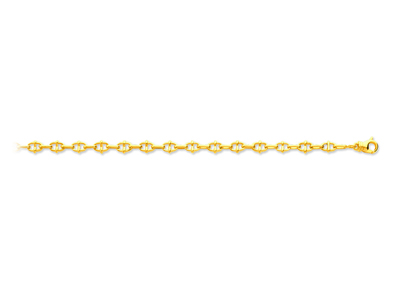 Bracelet maille Marine fantaisie alterné 54 mm 185 cm Or jaune 18k