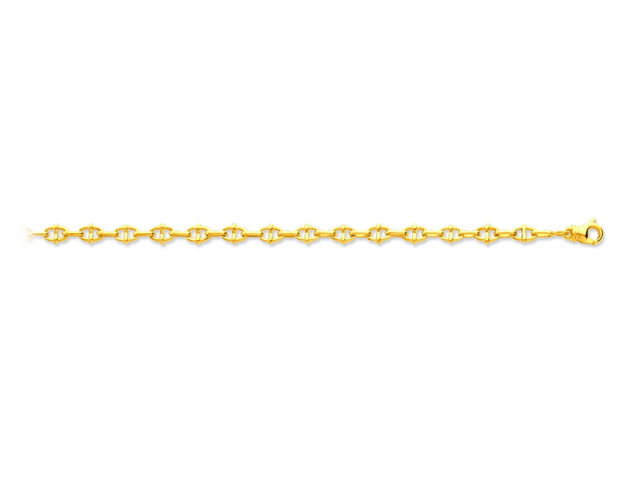Bracelet maille marine fantaisie alterné, Or jaune 18k, 5,4 mm, 18,5 cm