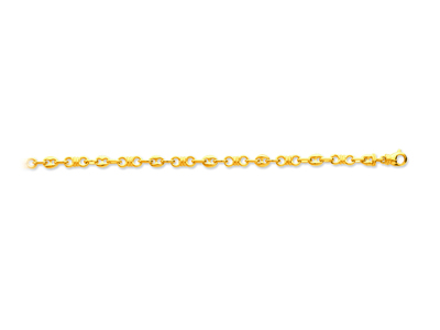 Bracelet noeuds alternés grains de café Or jaune 18k 46 mm 18 cm