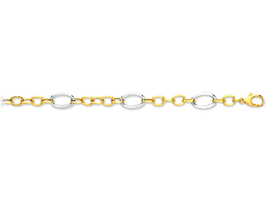 Bracelet maille alternes Or 18k bicolore 89 mm 19 cm