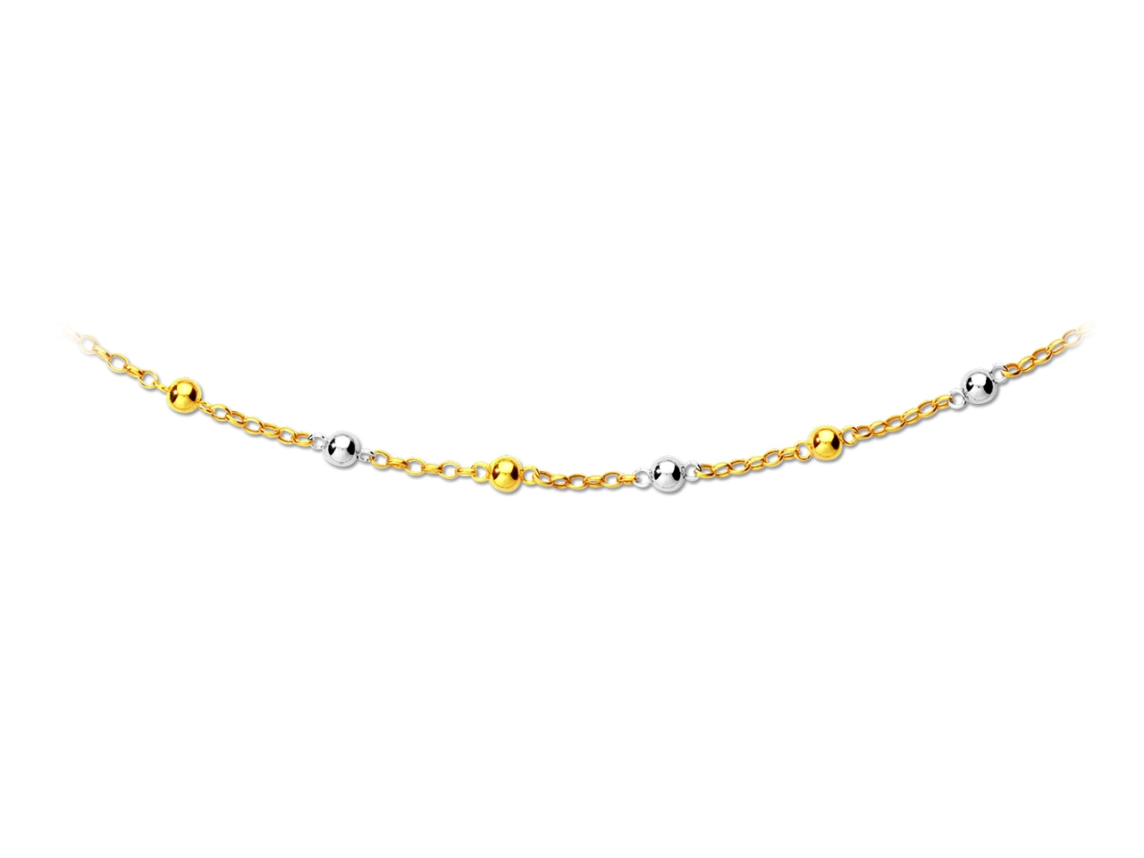 Collier maille et boules 6 mm, 44,5 cm, Or bicolore 18k