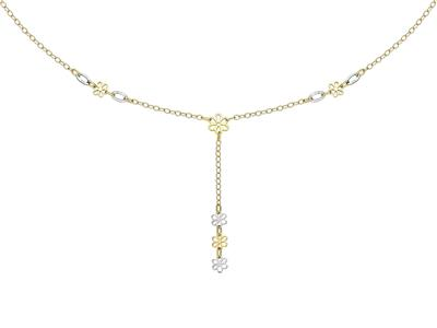 Collier Fleurs en Y, 1,7 mm - 42 cm, Or bicolore 18k