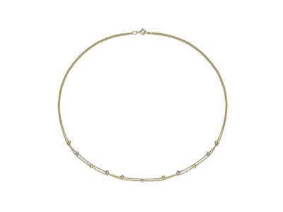 Collier Boules ciselées 2 rangs 3 mm, 45 cm, Or bicolore 18k