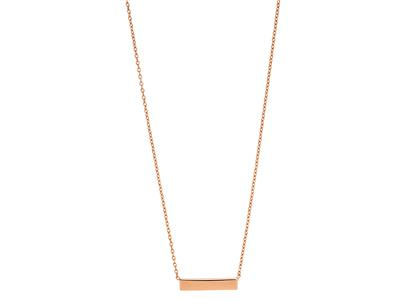 Collier chaîne Forçat ronde, motif Barrette 15 mm, 40-42 cm, Or rose 18k