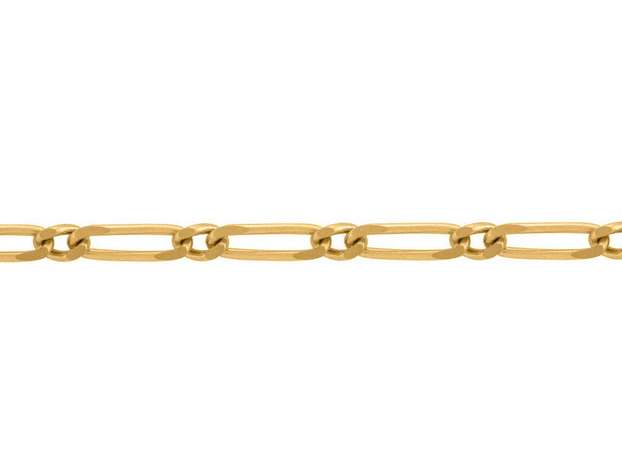 Chaine Figaro alternée 1/1, 1,5 mm, Or jaune 18k. Réf. 00894