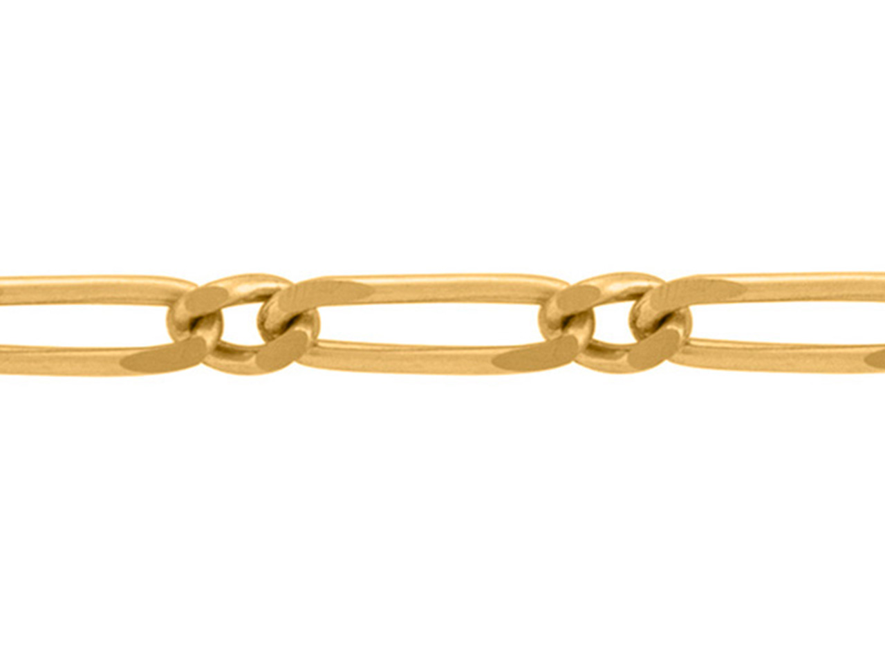 Chaine Figaro alternée 1/1, 3,5 mm, Or jaune 18k. Réf. 00090