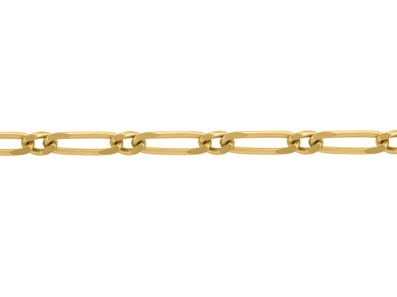 Chaine Figaro alternée 1/1, 3 mm, Or jaune 18k. Réf. 00958
