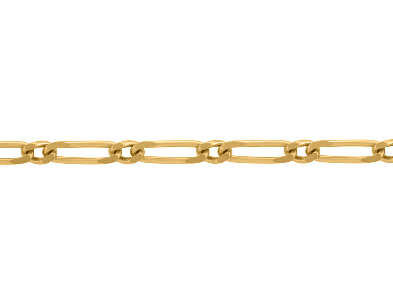 Chaine Figaro alternée 1/1, 2 mm, Or jaune 18k. Réf. 00174