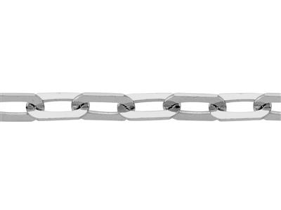 Chaine Maille rectangle 2,6 mm, Or gris r18k hodié. Réf. 02016