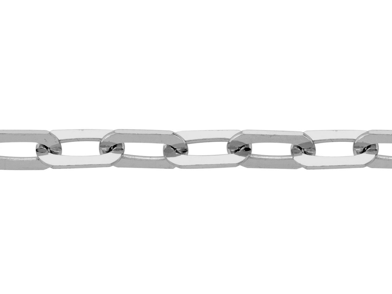 Chaine Maille rectangle, 2,6 mm, Or gris rhodié 18k. Réf. 02016