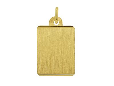 Pendentif Plaque identité rectangle, bords striés, Or jaune 18k