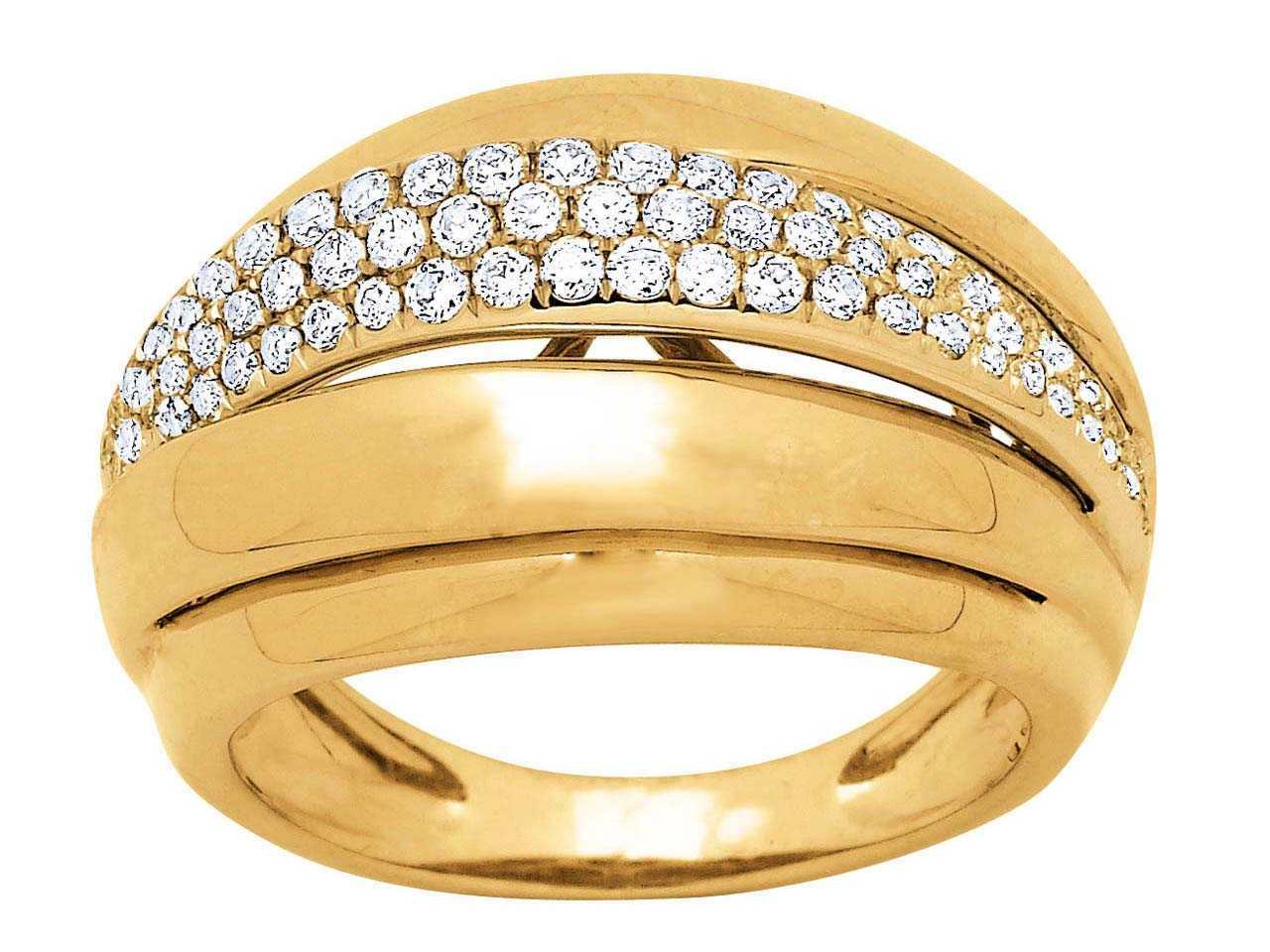 Bague lady Or jaune, diamants 0,58 ct, doigt 58