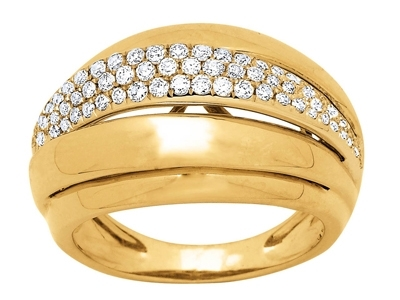 Bague lady Or jaune diamants 058 ct doigt 60