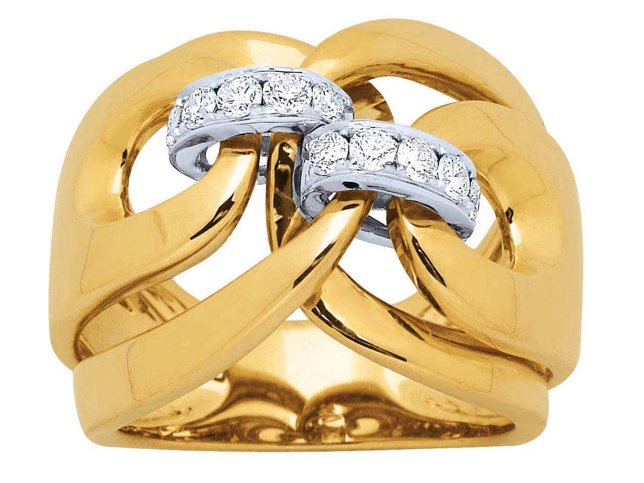 Bague liens Or jaune, diamants 0,43 ct, doigt 54