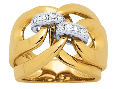 Bague liens, diamants 0,43ct, Or jaune 18k, doigt 58