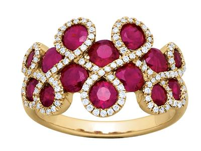 Bague Rubis 2,53ct et Diamants 0,29ct, forme 8, Or jaune 18k, doigt 52