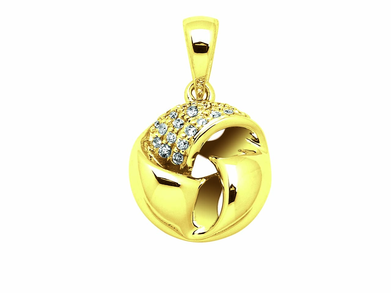 Pendentif boule, Or jaune, diamants 0,124 ct