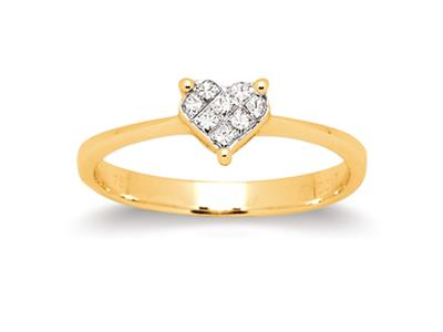 Bague coeur serti illusion petit modle Or jaune diamants 020 ct