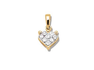 Pendentif Or jaune coeur serti illusion petit modle diamants 020 ct