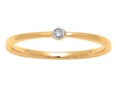 Solitaire Dts 0,02 ct, Or jaune 18k, doigt 54