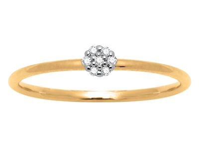 Solitaire Dts 0,03 ct, Or jaune 18k, doigt 56