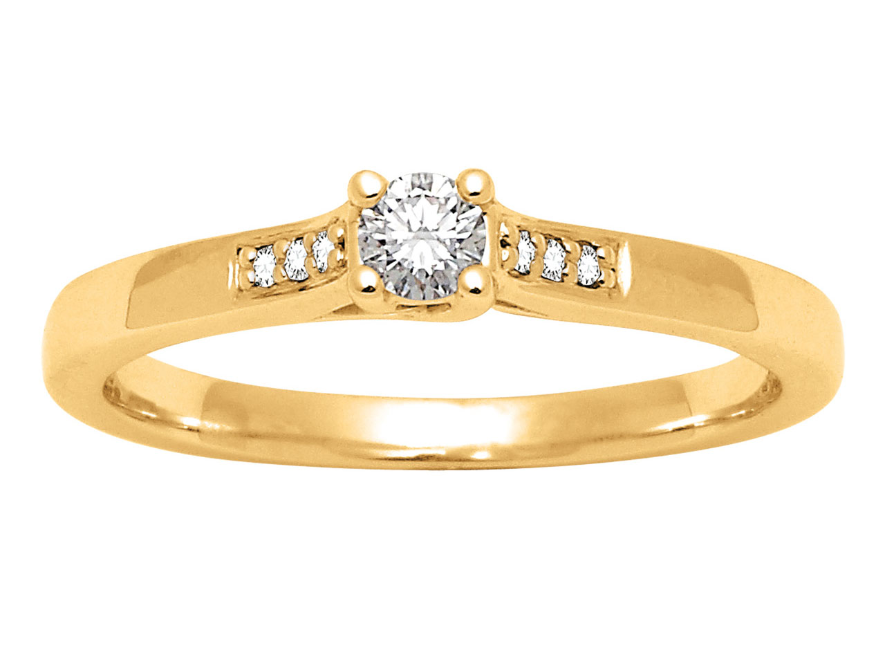 Solitaire accompagné, Or jaune18 k, Dts 0,13 ct, doigt 50