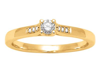 Solitaire accompagn Or jaune18 k Dts 013 ct doigt 52