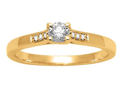 Solitaire accompagn Or jaune18 k Dts 023 ct doigt 52