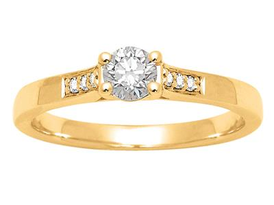 Solitaire accompagn Or jaune18 k Dts 035 ct doigt 52