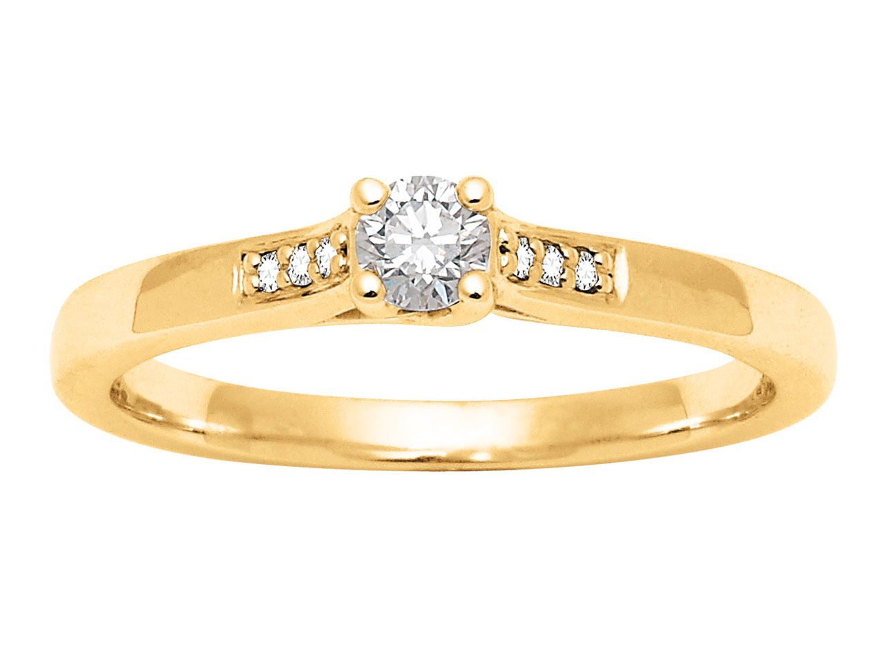 Solitaire accompagné, Or jaune 18 k, Dts 0,18 ct, doigt 50