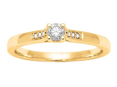 Solitaire accompagn Or jaune 18 k Dts 018 ct doigt 56