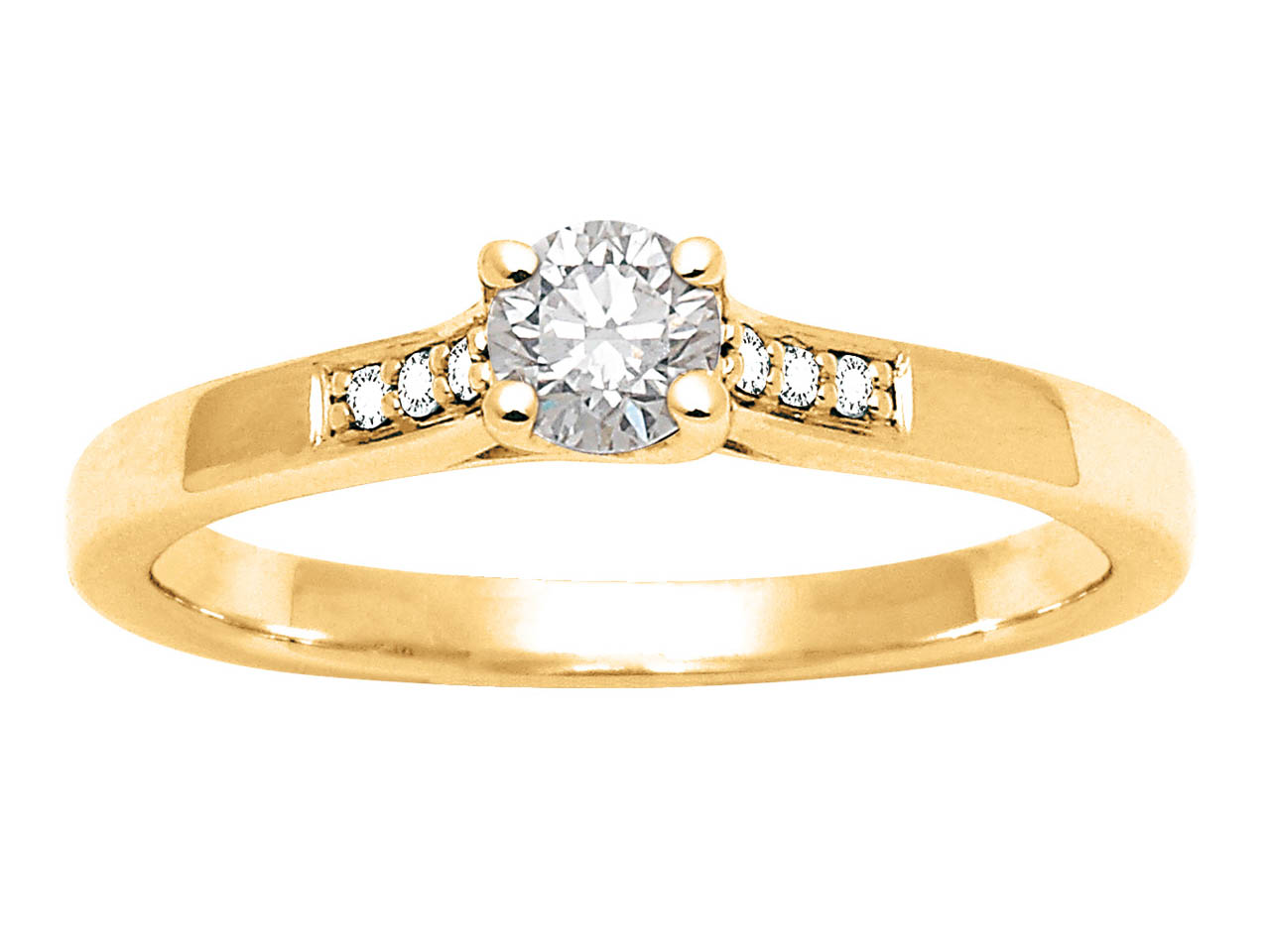 Solitaire accompagné, Or jaune 18 k, Dts 0,29 ct, doigt 52