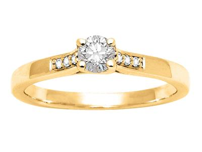 Solitaire accompagn Or jaune 18 k Dts 029 ct doigt 54