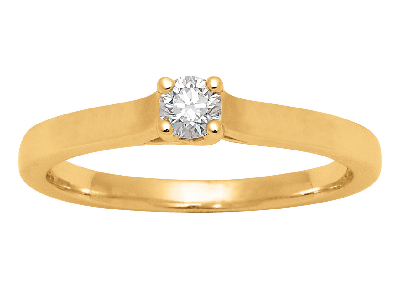 Solitaire Or jaune 18 k, Dts 0,15 ct, doigt 56